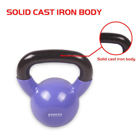 Kettlebell Vinyl Coated for Fitness Weights Training Exercise Workout