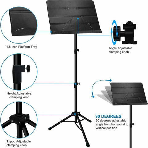 Music Stand with Sheet Music Clip Holder and Carrying Bag