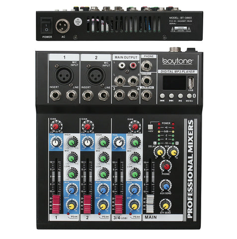 Audio Mixer Sound System Mixer with 4 Channel