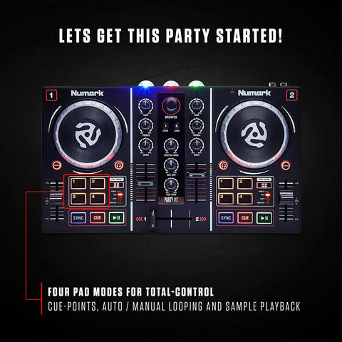 DJ Controller Party Mix Equipment with LED Light and Headphones