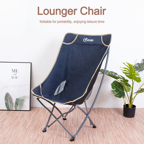 High Back Outdoor Camping Travel Folding Chair w/ Mesh Storage Pocket