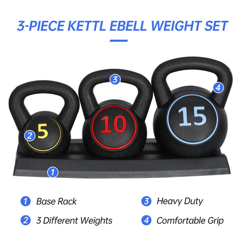 Kettlebells Set Weights for Fitness Exercise Training with Base Rack