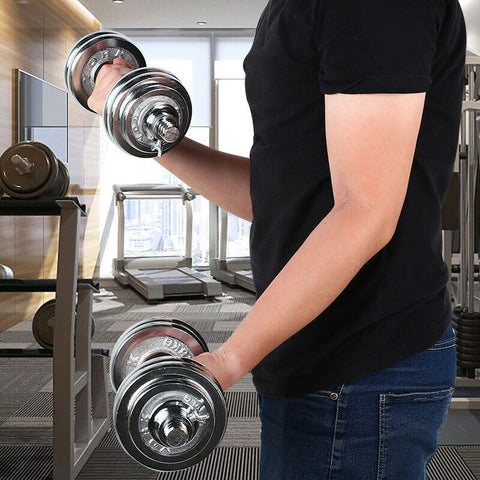 Dumbbells with Adjustable Weight Set Full Iron Steel Plates