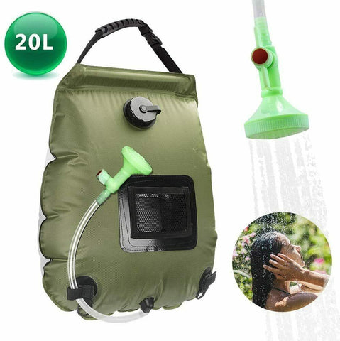 Camping Shower Bag Solar Heating for Beach Hiking Travel - 20L