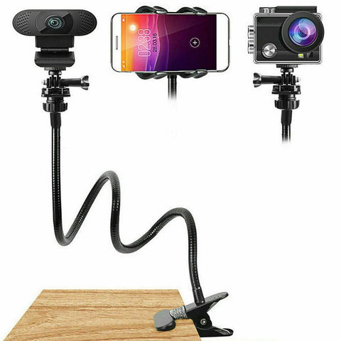Webcam Camera Stand Mount Gooseneck with Mini Tripod for Phone