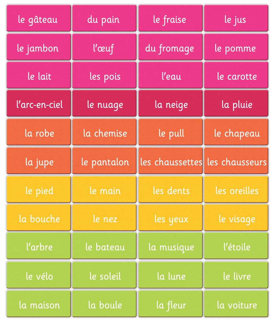 Magnetic French Words