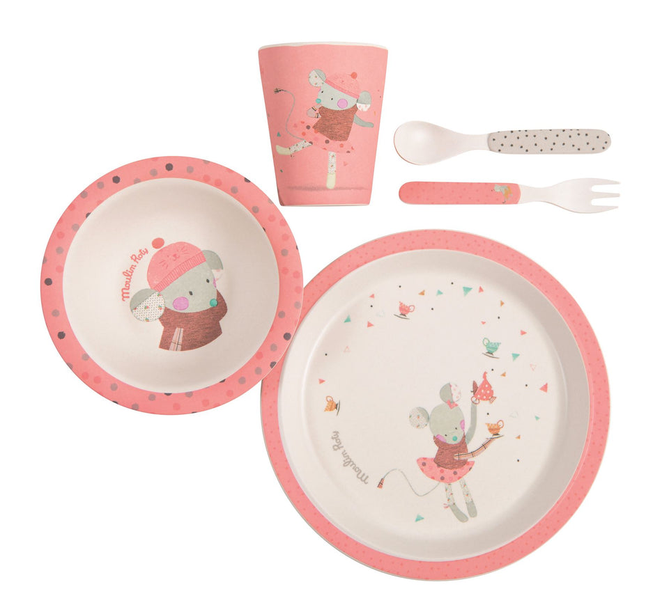 Moulin Roty Set Vaisselle Dish Set Rose