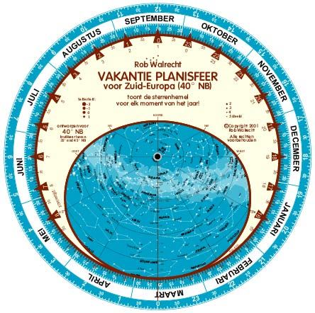 Rob Walrecht Dutch 'Holiday' Planisphere for 40° N