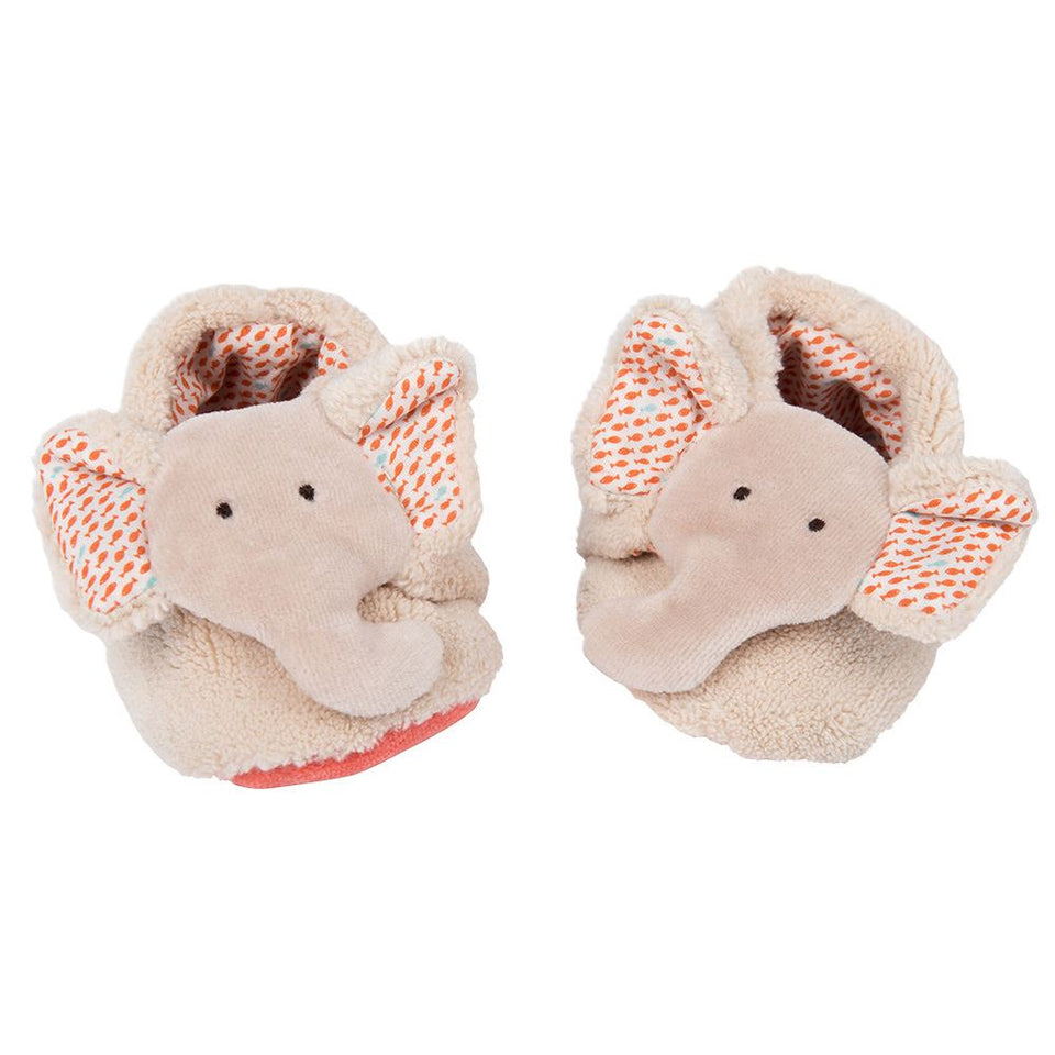 Moulin Roty Les Papoums Elephant baby slippers