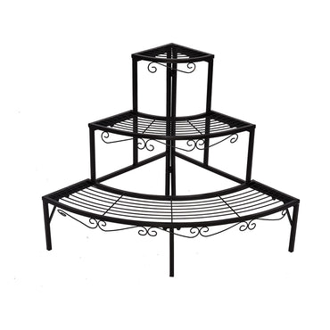 Levede Outdoor Indoor Pot Plant Stand Garden Metal 3 Tier Planter Corner Shelf