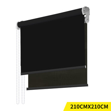 Modern Day/Night Double Roller Blinds Commercial Quality 210x210cm Black Black