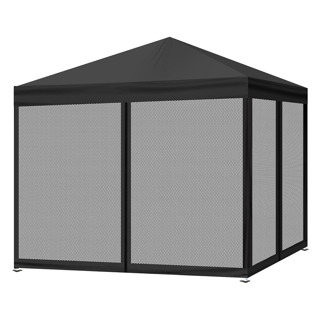 Mountview Pop Up Camping Canopy Tent Gazebo Mesh Side Wall Screen House Black