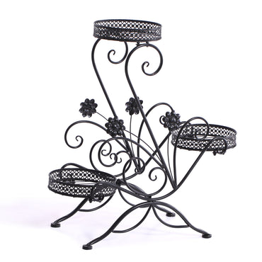 Levede Flower Shape Metal Plant Stand 3 Planter Pot D?cor Corner Shelf Black
