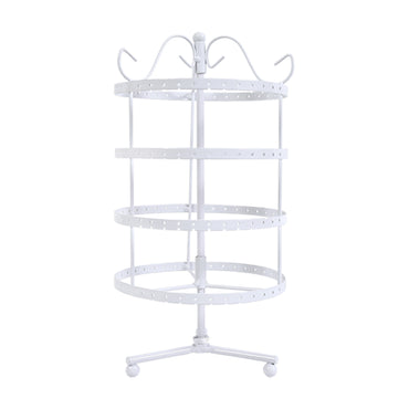Earring Holder Stand Jewelry Display Hanging Rack Storage Metal Organizer 4 Tier White