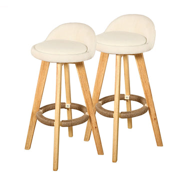 4x Levede Fabric Swivel Bar Stool Kitchen Stool Dining Chair Barstools Cream