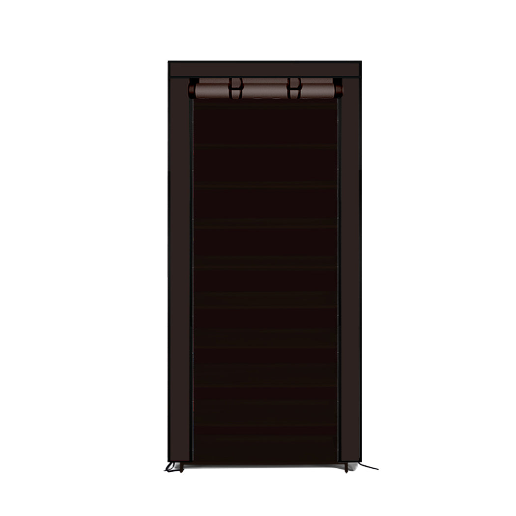 Levede 10 Tier Shoe Rack Portable Storage Cabinet Organiser Wardrobe Brown Cover