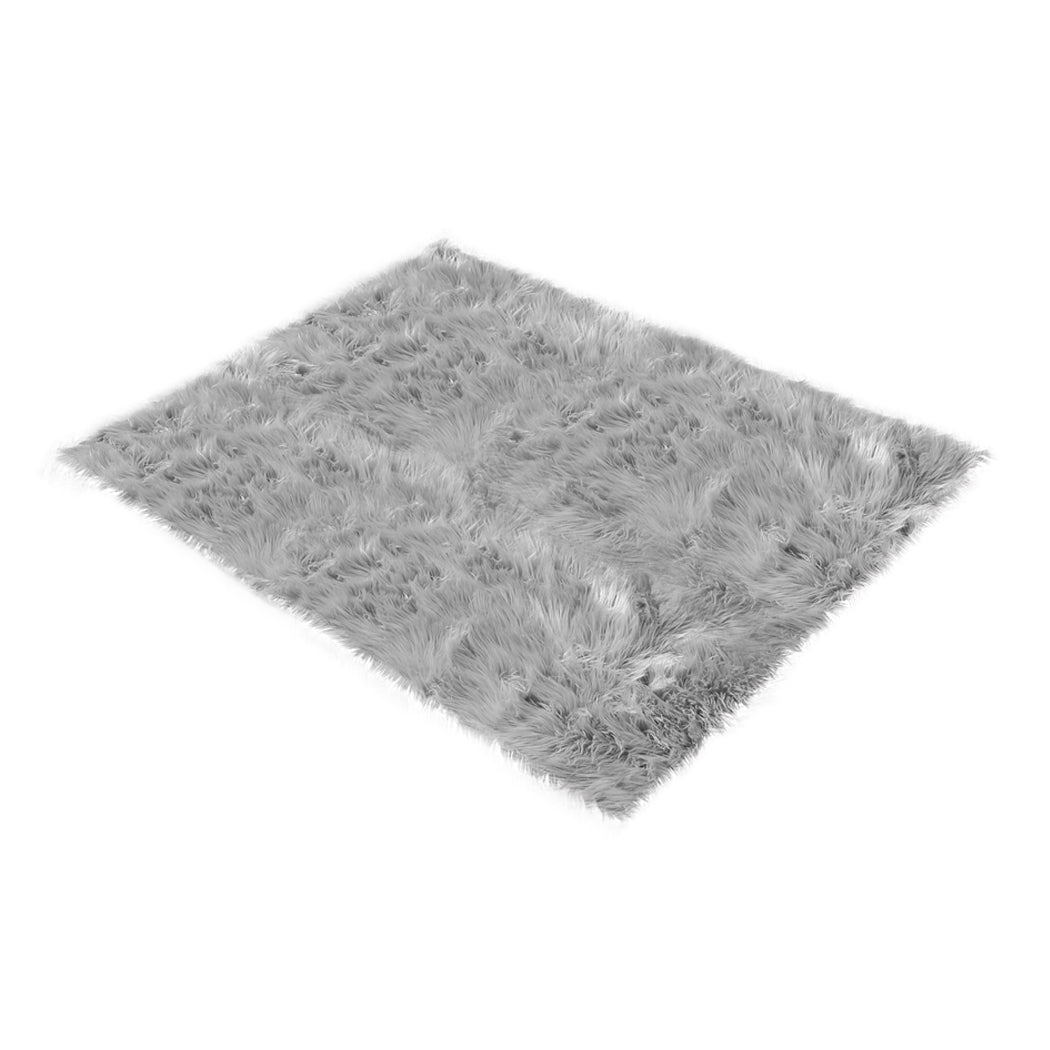 Grey 60x120cm Sheepskin Shag Floor Rugs