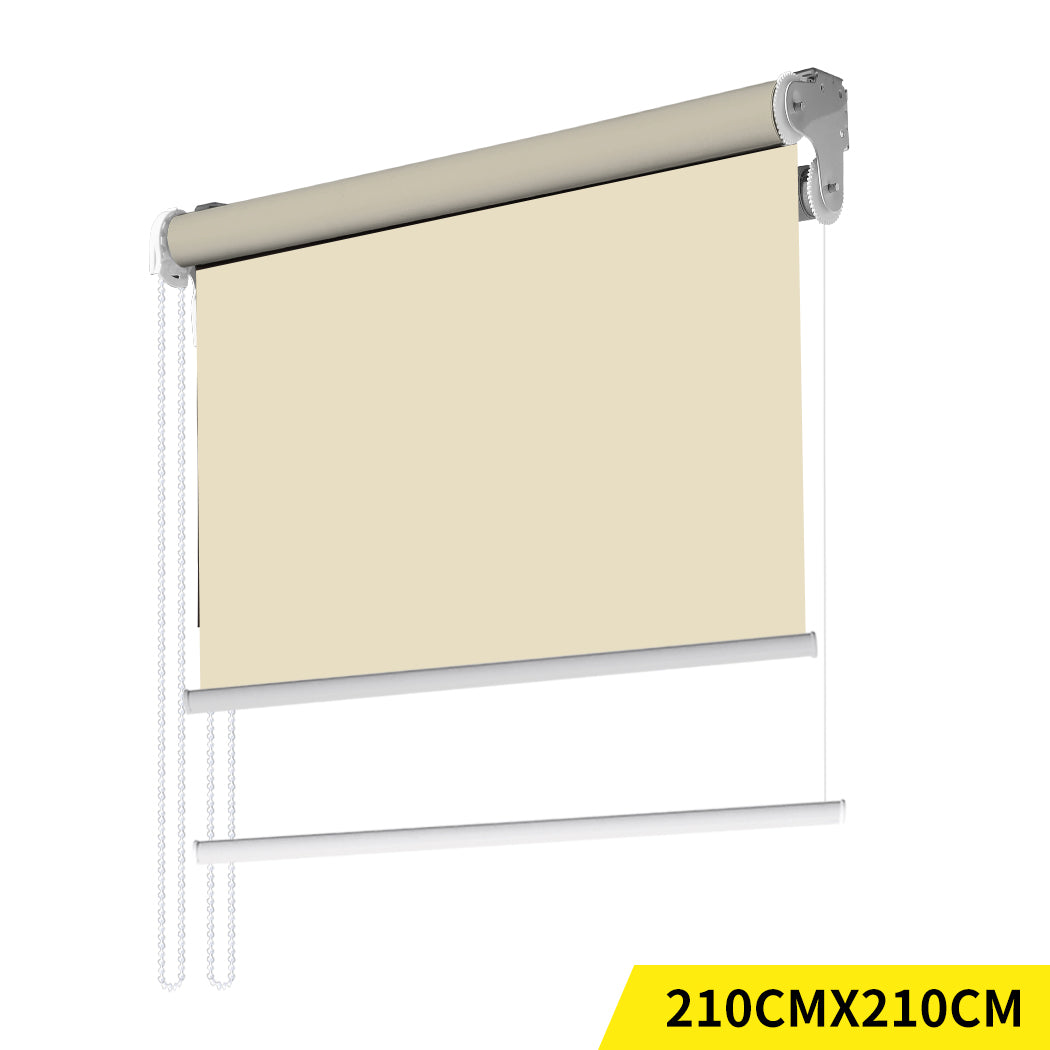 Modern Day/Night Double Roller Blinds Commercial Quality 210x210cm Cream White