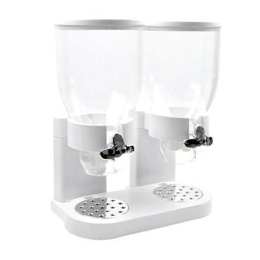 Double Cereal Dispenser Dry Food Storage Container Dispense Machine White