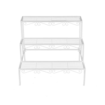 Levede 3 Tier Rectangle Metal Plant Stand Flower Pot Planter Corner Shelf White
