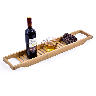 Bathroom Bamboo Bath Caddy Book Wine Glass Holder Tray Over Bathtub Rack Support