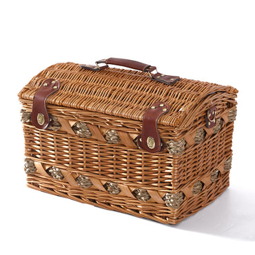 Wicker 4 Person Picnic Basket Baskets Set Outdoor Blanket Deluxe Gift Storage