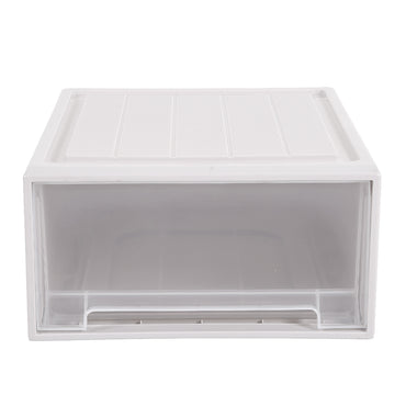 2x Plastic Wide Drawer Shoes Storage Boxes Stackable Clothes Kids Toys Organiser