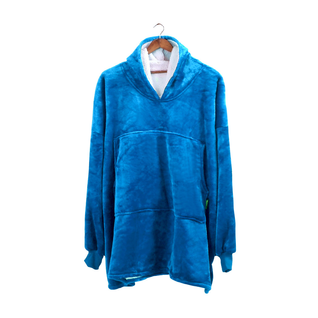 2 Pcs DreamZ Plush Fleece Sherpa Hoodie Sweatshirt Huggle Blanket Pajamas Navy