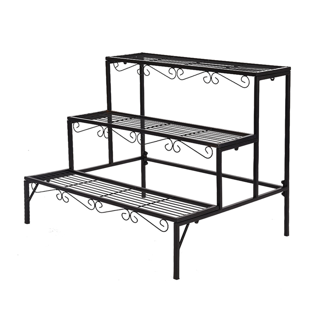 Levede Plant Stand 3 Tier Rectangle Metal Flower Pot Planter Corner Shelf Black