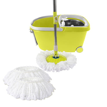 360° Spin Mop Bucket Set Spinning Stainless Steel Rotating Wet Dry Green