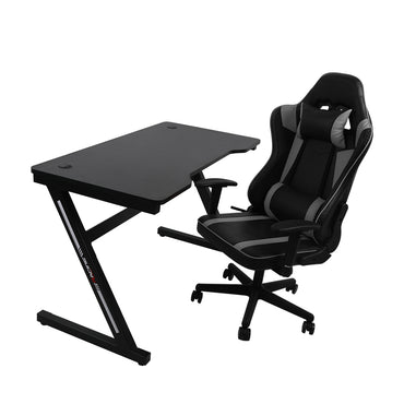 Gaming Chair Desk Computer Gear Set Racing Desk Office Laptop Chair Study Home Z shaped Desk Silver Chair