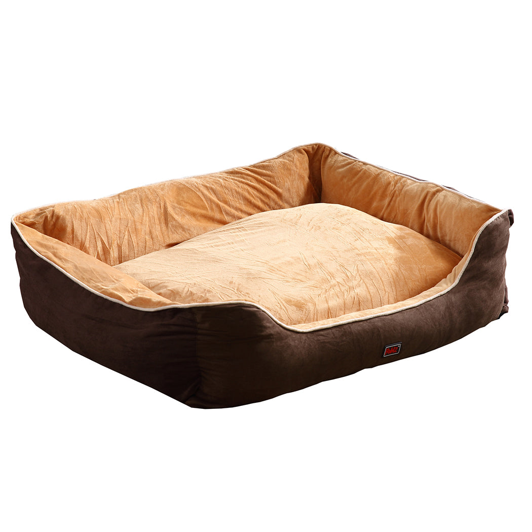 PaWz Deluxe Soft Pet Bed Mattress with Removable Cover Size Medium in Brown Colour