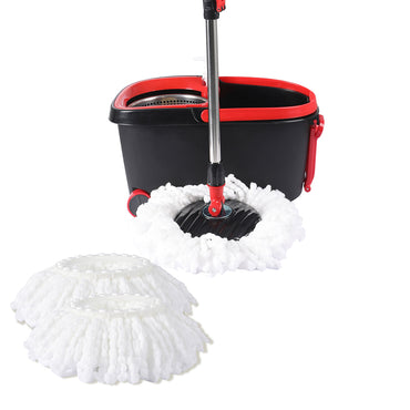 360° Spin Mop Bucket Set Spinning Stainless Steel Rotating Wet Dry  Black