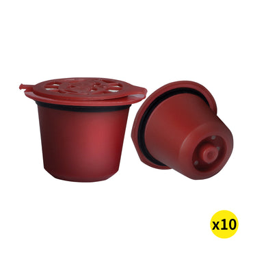 10x Refillable Reusable Coffee Filter Capsules Pods Pod for Nespresso Machine Red