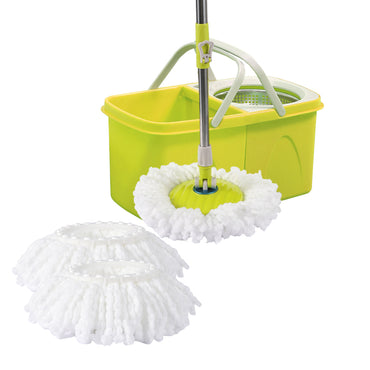 Split Bucket 360 Rotating Spinning Spin Mop 2 Mop Heads Stainless Steel Wheel
