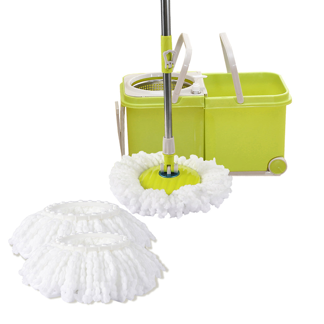 4 Style 360 Spinning Mop Stainless Steel Bucket 2 Free Spin Mop Heads/pads Wheel
