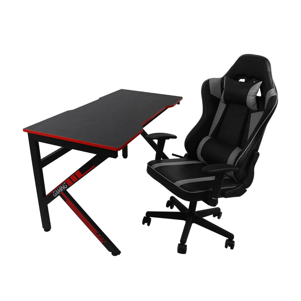 Gaming Chair Desk Computer Gear Set Racing Desk Office Laptop Chair Study Home K shaped Desk Silver Chair