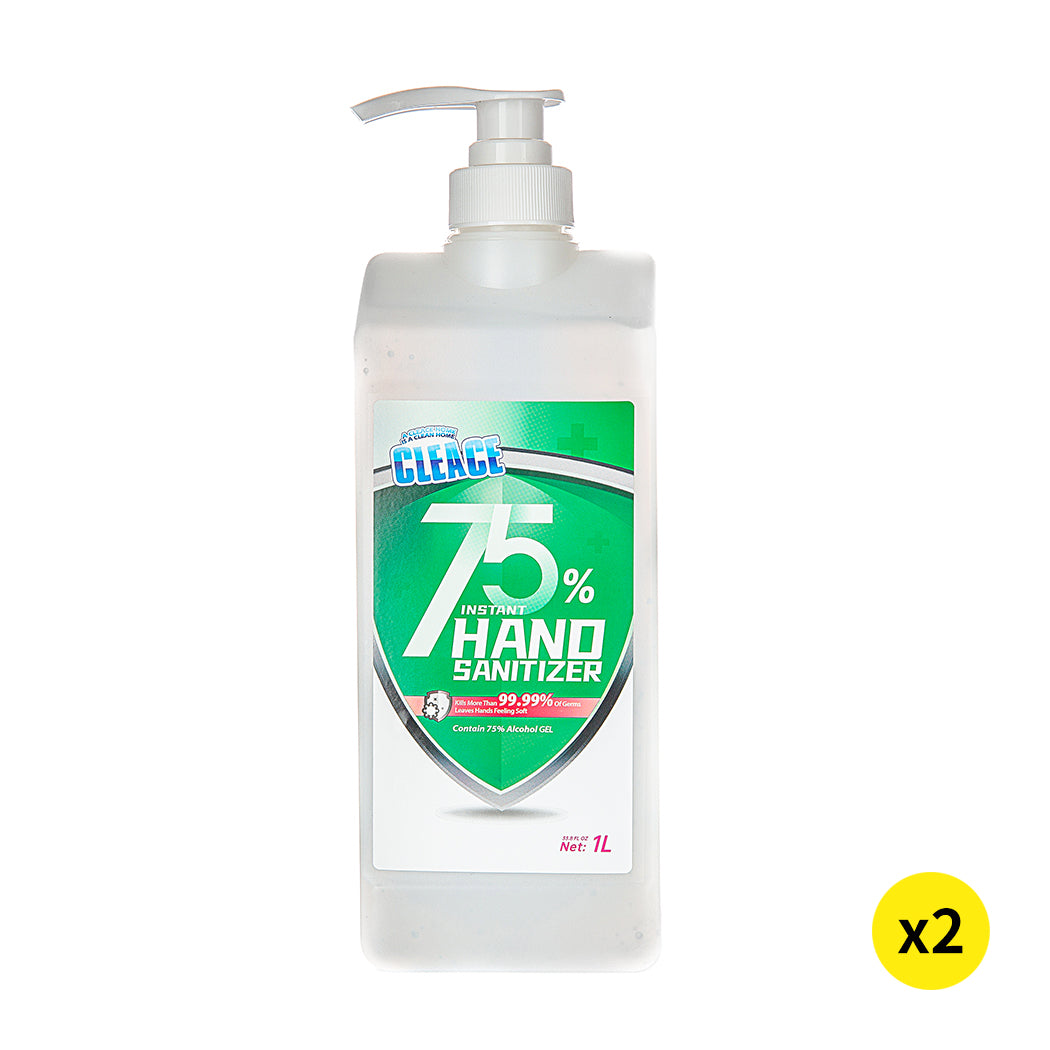 Cleace 2x Hand Sanitiser Sanitizer Instant Gel Wash 75% Alcohol 1000ML