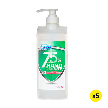 Cleace 5x Hand Sanitiser Sanitizer Instant Gel Wash 75% Alcohol 1000ML