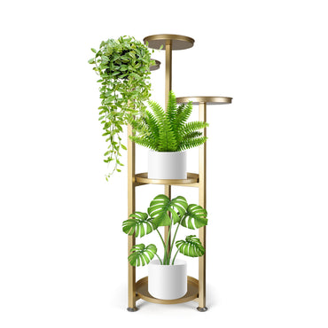 Levede Plant Stand Outdoor Indoor Flower Pots Rack Garden Shelf Gold 100CM