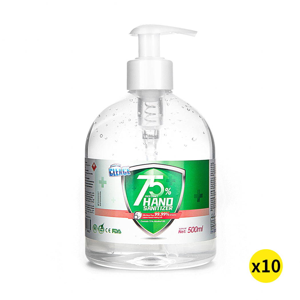Cleace 10x Hand Sanitiser Sanitizer Instant Gel Wash 75% Alcohol 500ML