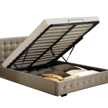 Levede Bed Frame Base With Gas Lift Double Size Platform Fabric