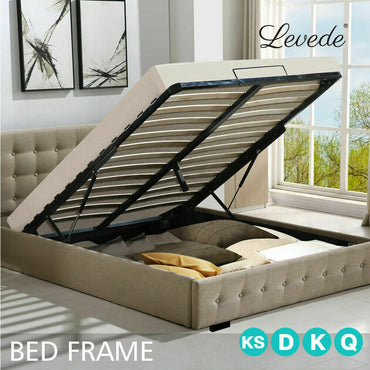 Levede Bed Frame Fabric With Storage Gas Lift in Beige Colour