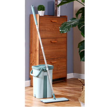 Self Cleaning Mop Bucket System Flat Floor Squeeze Drying Wringing Wash Microfiber Pads x 2
