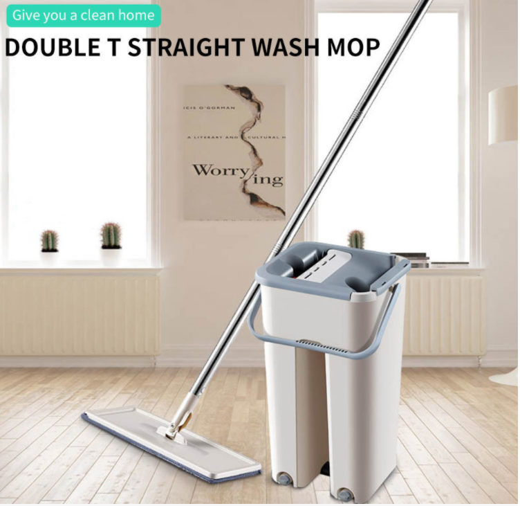 Flat Mop Bucket 360 Rotating Self Wash Cleaning Wet and Dry Pads 3 MOP Heads Set