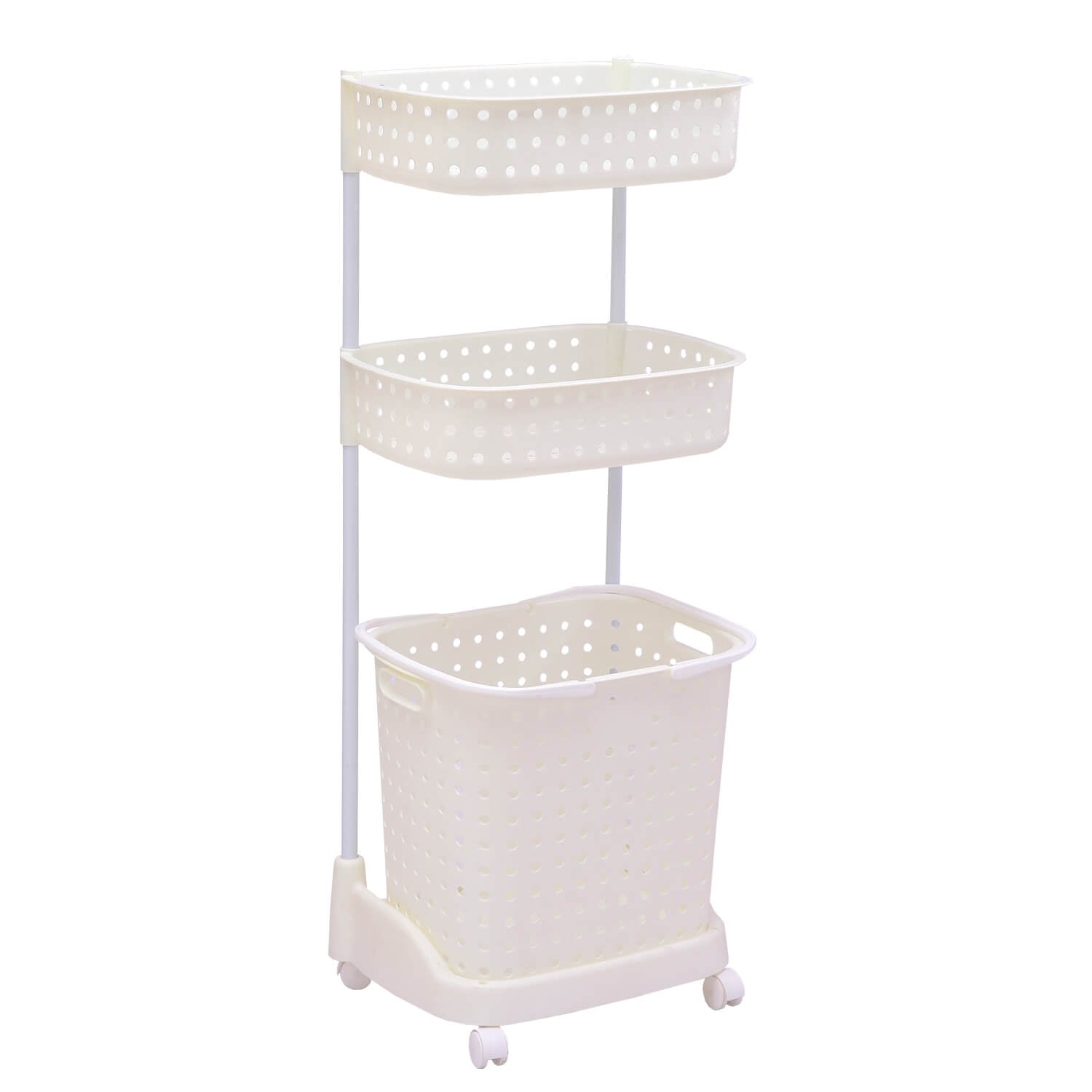 3 Tier Bathroom Laundry Clothes Baskets Bin Hamper Mobile Rack Removable Shelf