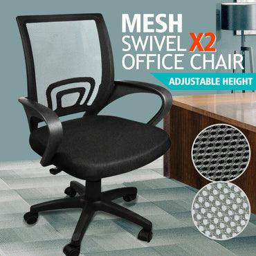 2 x Ergonomic Mesh Computer Home Office Desk Midback Task Black Adjustable Chair