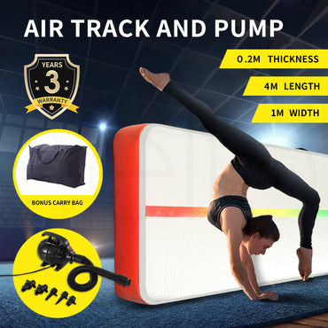 4x1M Inflatable Air Track Mat Tumbling Pump Floor Home Gymnastics Gym in Red