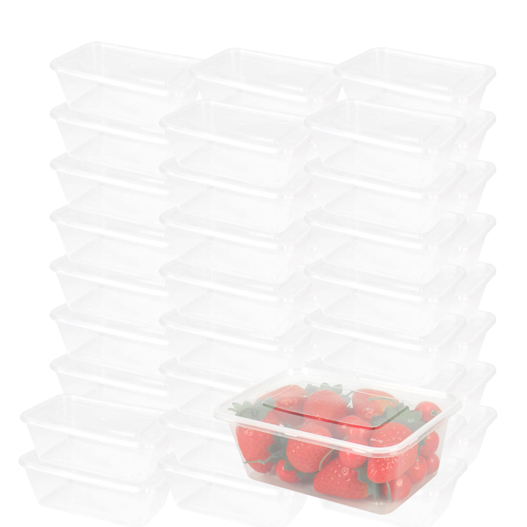 1000 Pcs 750ml Take Away Food Platstic Containers Boxes Base and Lids Bulk Pack