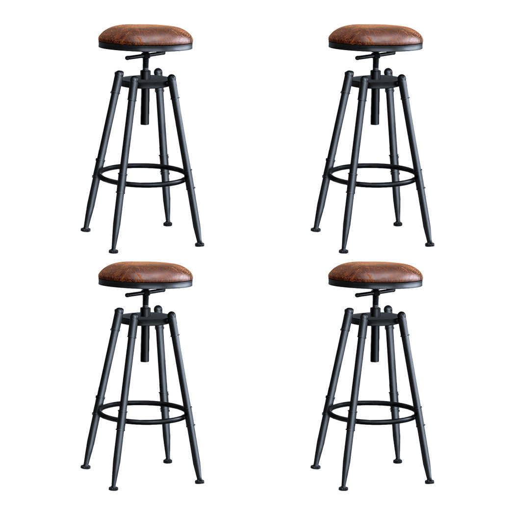 4x Levede Rustic Industrial Bar Stool Kitchen Stool Barstool Swivel Dining Chair